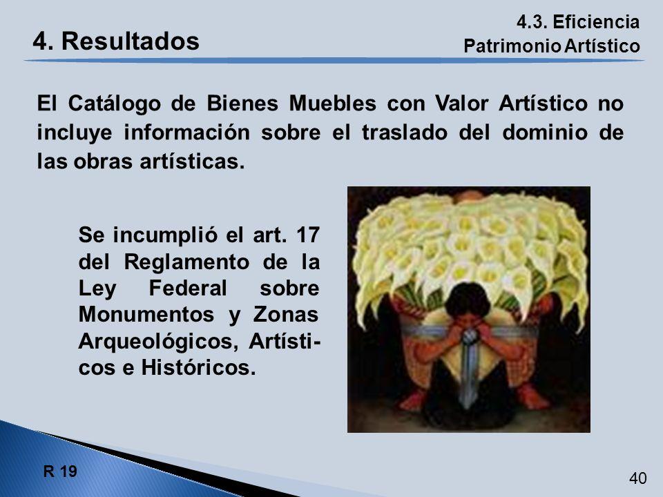 4.3. Eficiencia Patrimonio Artístico R 19 40 El Catálogo de Bienes Muebles con Valor Artístico no incluye información sobre el traslado del dominio de