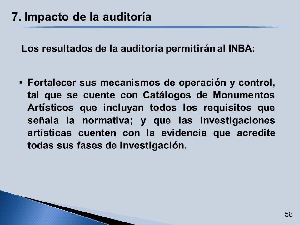 7. Impacto de la auditoría Los resultados de la auditoría permitirán al INBA: Fortalecer sus mecanismos de operación y control, tal que se cuente con