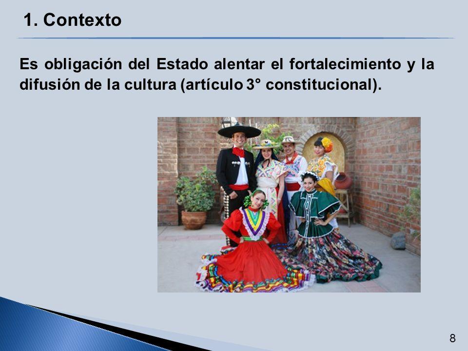 Es obligación del Estado alentar el fortalecimiento y la difusión de la cultura (artículo 3° constitucional). 8