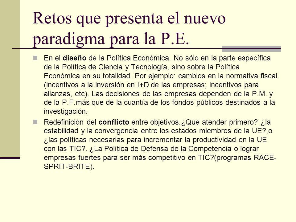 Retos que presenta el nuevo paradigma para la P.E. En el diseño de la Política Económica. No sólo en la parte específica de la Política de Ciencia y T