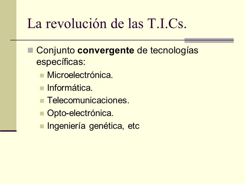 La revolución de las T.I.Cs. Conjunto convergente de tecnologías específicas: Microelectrónica. Informática. Telecomunicaciones. Opto-electrónica. Ing