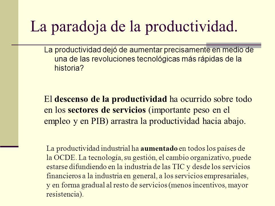 La paradoja de la productividad. La productividad dejó de aumentar precisamente en medio de una de las revoluciones tecnológicas más rápidas de la his