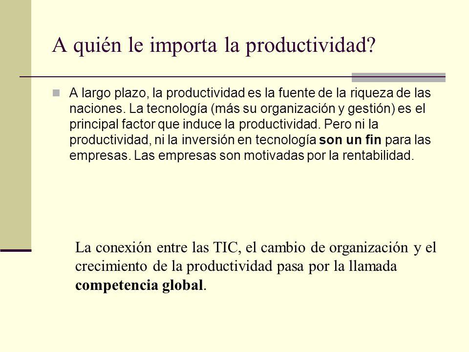 A quién le importa la productividad? A largo plazo, la productividad es la fuente de la riqueza de las naciones. La tecnología (más su organización y