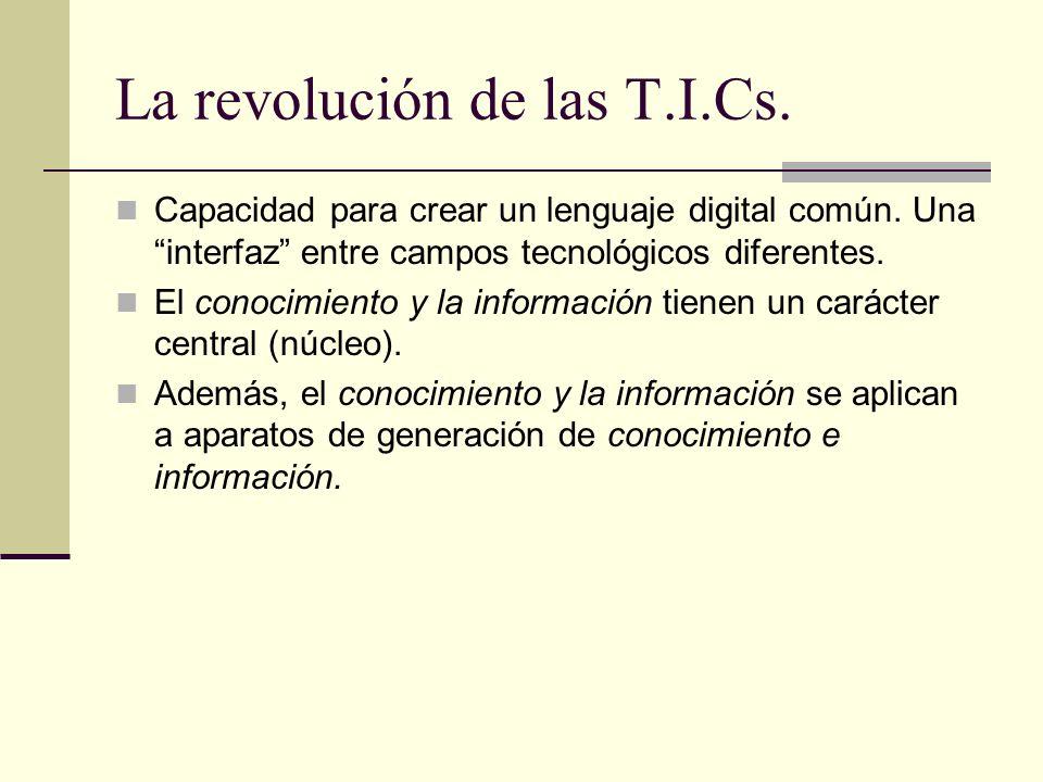La revolución de las T.I.Cs.Capacidad para crear un lenguaje digital común.