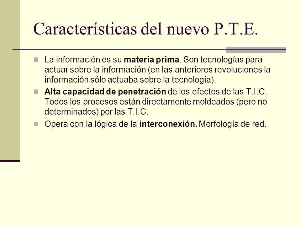 Características del nuevo P.T.E. La información es su materia prima. Son tecnologías para actuar sobre la información (en las anteriores revoluciones