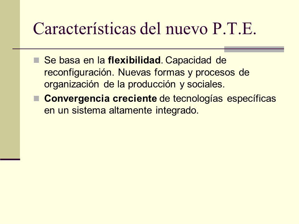 Características del nuevo P.T.E. Se basa en la flexibilidad. Capacidad de reconfiguración. Nuevas formas y procesos de organización de la producción y