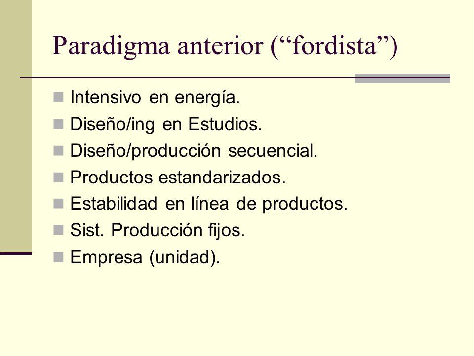 Paradigma anterior (fordista) Intensivo en energía. Diseño/ing en Estudios. Diseño/producción secuencial. Productos estandarizados. Estabilidad en lín