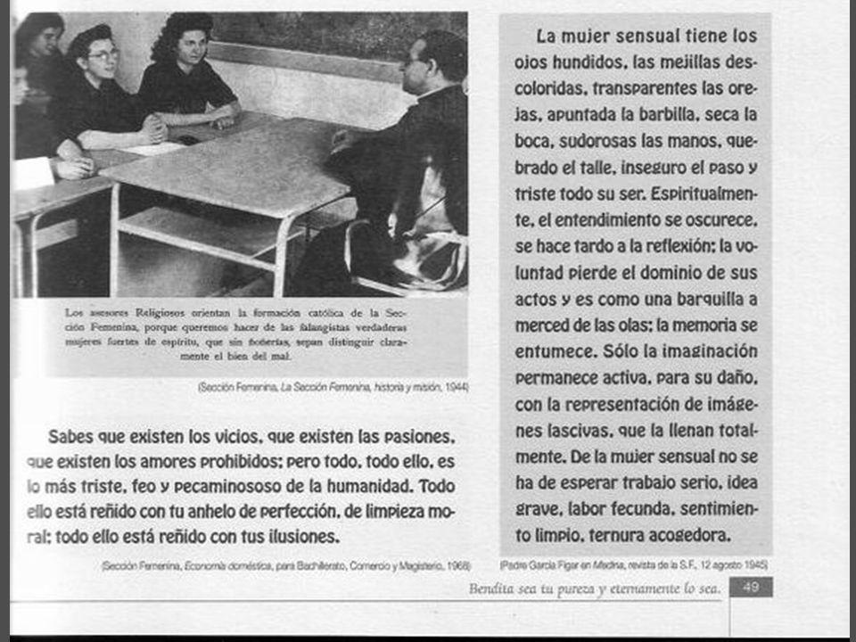Sección Femenina de Falange Local portando la Madre de Dios del Socorro Los Religiosos orientaban la formación católica en la Sección Femenina