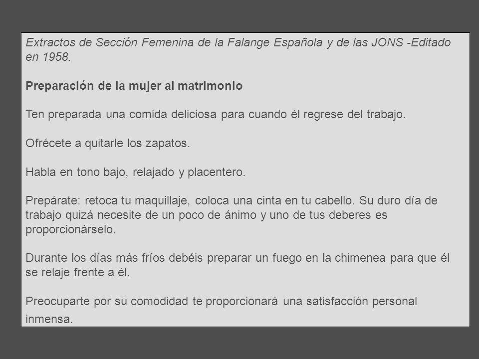 Sección Femenina de la Falange Española y de las JONS -Editado en 1958.