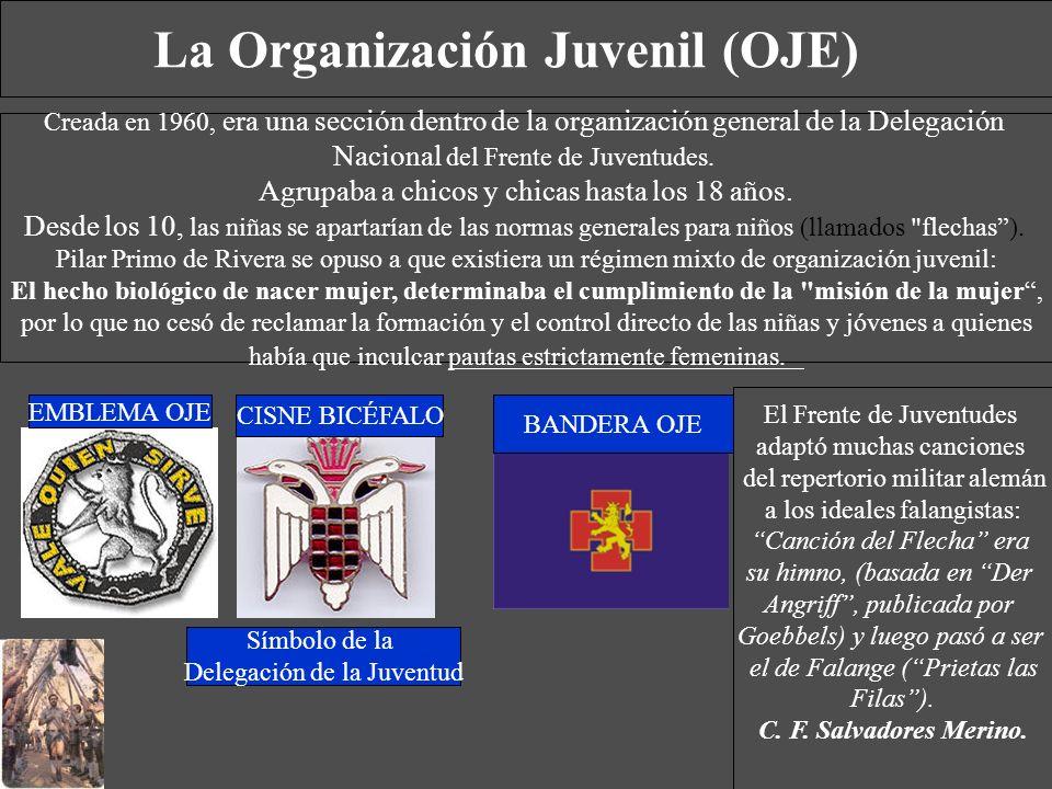 SU ORGANIZACIÓN Su organización constaba de cinco departamentos, al frente de cada uno se encontraba una delegada nacional nombrada por Pilar Primo de