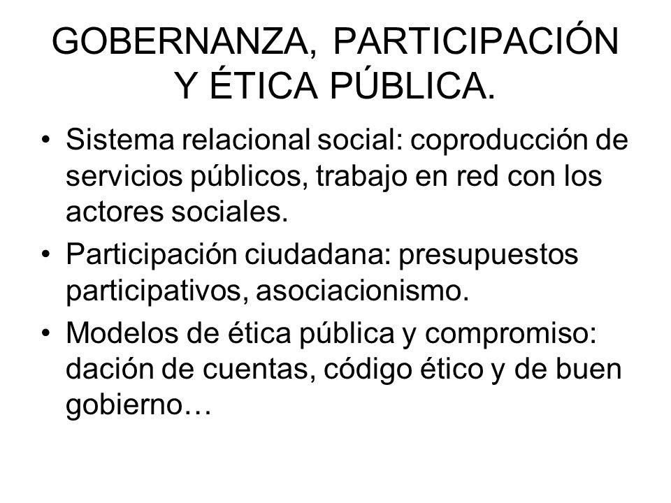 GOBERNANZA, PARTICIPACIÓN Y ÉTICA PÚBLICA. Sistema relacional social: coproducción de servicios públicos, trabajo en red con los actores sociales. Par