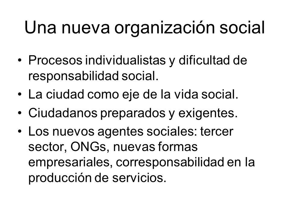 Una nueva organización social Procesos individualistas y dificultad de responsabilidad social. La ciudad como eje de la vida social. Ciudadanos prepar