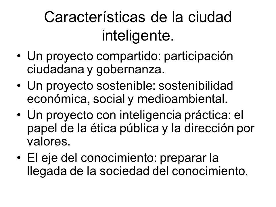 Características de la ciudad inteligente. Un proyecto compartido: participación ciudadana y gobernanza. Un proyecto sostenible: sostenibilidad económi