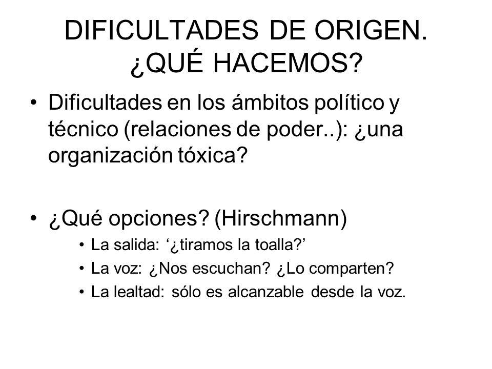 DIFICULTADES DE ORIGEN. ¿QUÉ HACEMOS? Dificultades en los ámbitos político y técnico (relaciones de poder..): ¿una organización tóxica? ¿Qué opciones?