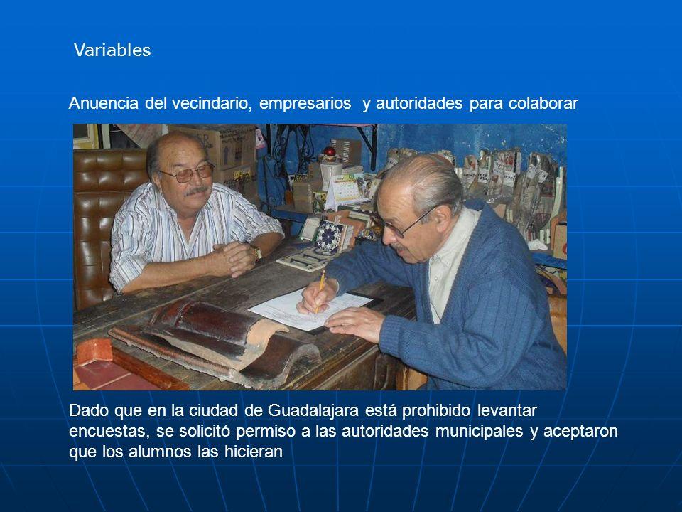Anuencia del vecindario, empresarios y autoridades para colaborar Dado que en la ciudad de Guadalajara está prohibido levantar encuestas, se solicitó permiso a las autoridades municipales y aceptaron que los alumnos las hicieran Variables