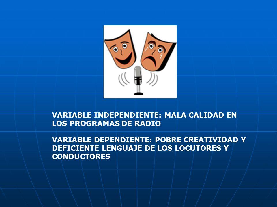 VARIABLE INDEPENDIENTE: MALA CALIDAD EN LOS PROGRAMAS DE RADIO VARIABLE DEPENDIENTE: POBRE CREATIVIDAD Y DEFICIENTE LENGUAJE DE LOS LOCUTORES Y CONDUC