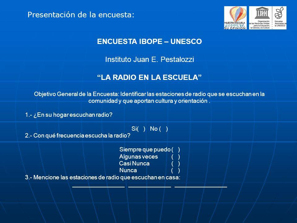 ENCUESTA IBOPE – UNESCO Instituto Juan E. Pestalozzi LA RADIO EN LA ESCUELA Objetivo General de la Encuesta: Identificar las estaciones de radio que s
