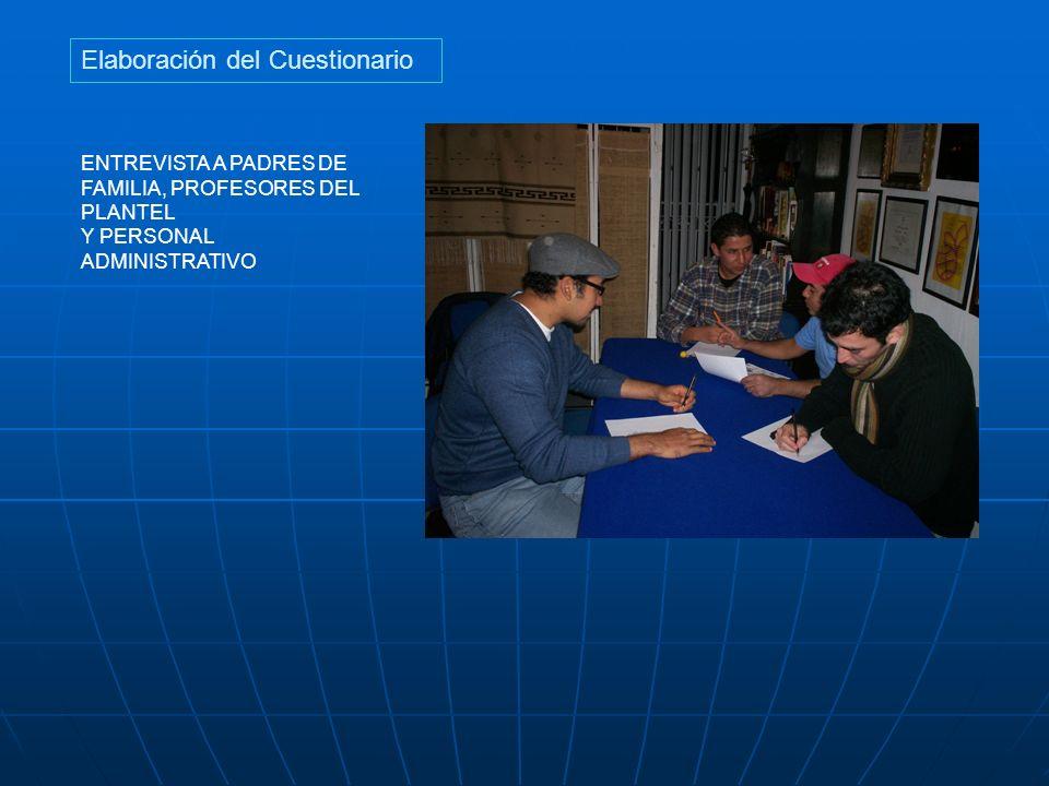 Elaboración del Cuestionario ENTREVISTA A PADRES DE FAMILIA, PROFESORES DEL PLANTEL Y PERSONAL ADMINISTRATIVO