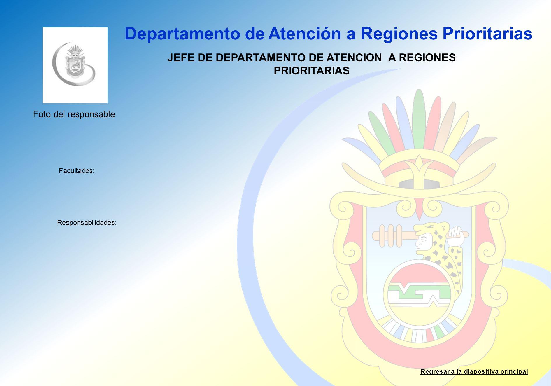 Departamento de Atención a Regiones Prioritarias Facultades: Responsabilidades: Regresar a la diapositiva principal JEFE DE DEPARTAMENTO DE ATENCION A