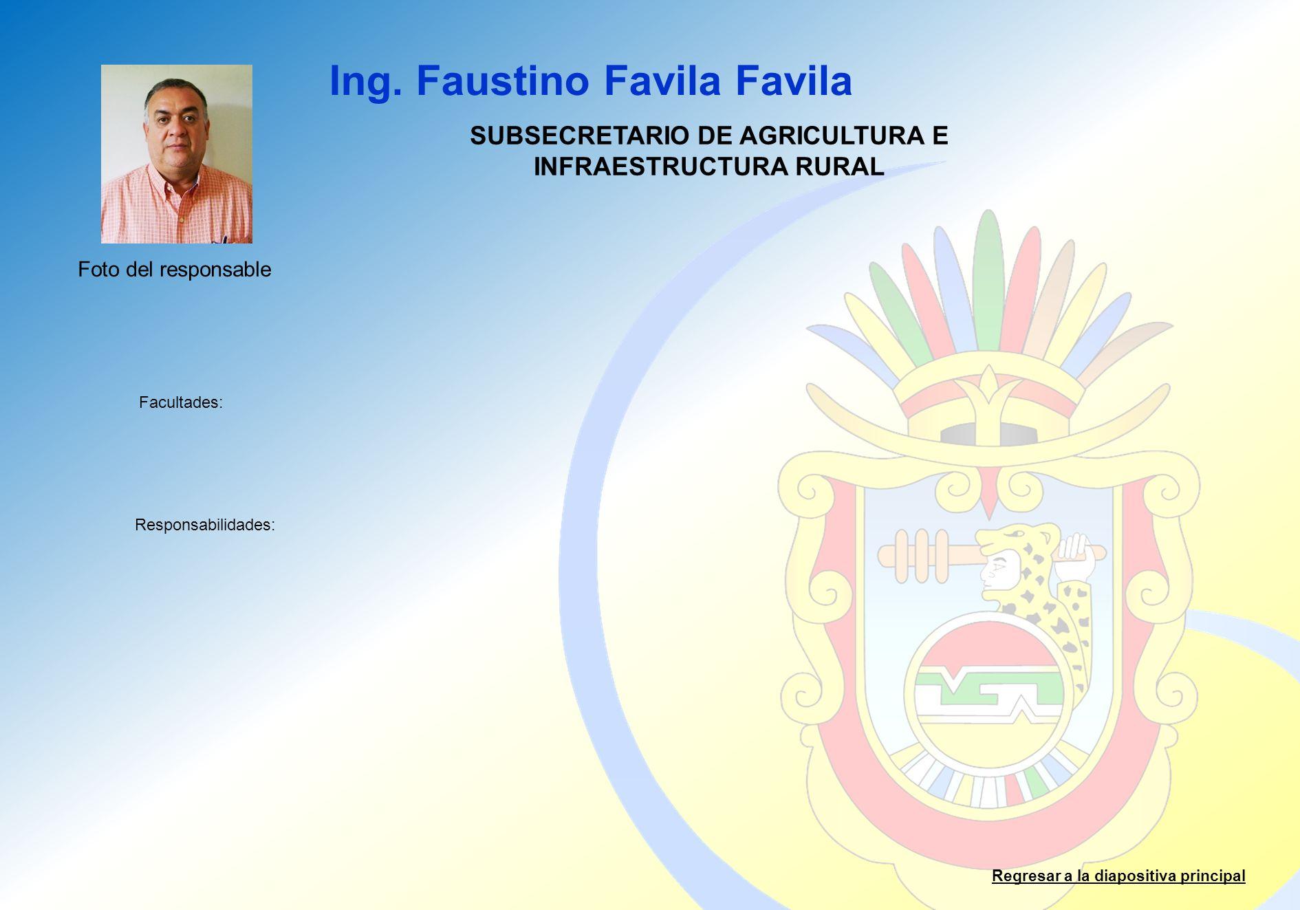Ing. Faustino Favila Favila Facultades: Responsabilidades: Regresar a la diapositiva principal SUBSECRETARIO DE AGRICULTURA E INFRAESTRUCTURA RURAL Fo