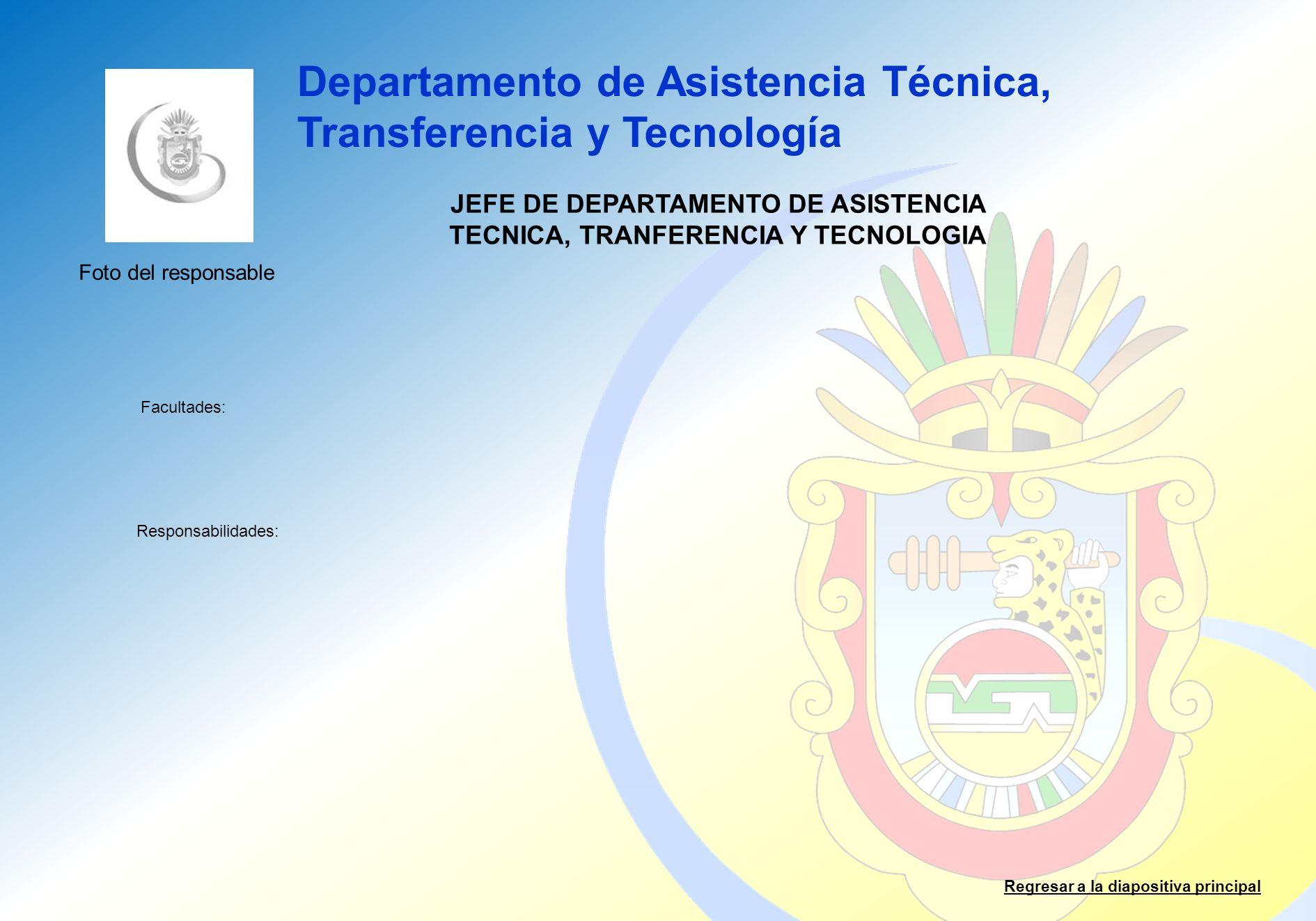 Departamento de Asistencia Técnica, Transferencia y Tecnología Facultades: Responsabilidades: Regresar a la diapositiva principal JEFE DE DEPARTAMENTO
