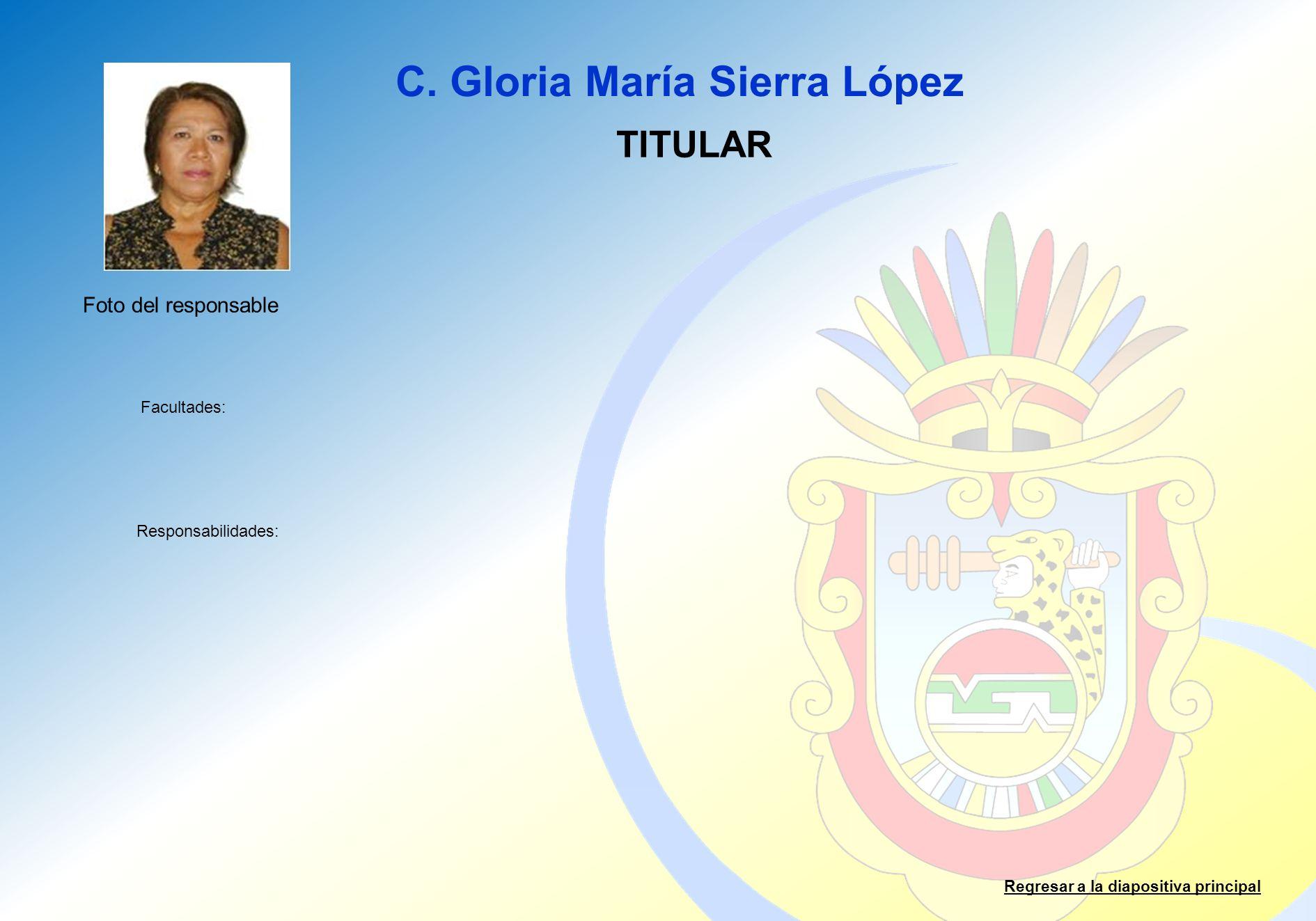 C. Gloria María Sierra López Facultades: Responsabilidades: Regresar a la diapositiva principal TITULAR Foto del responsable
