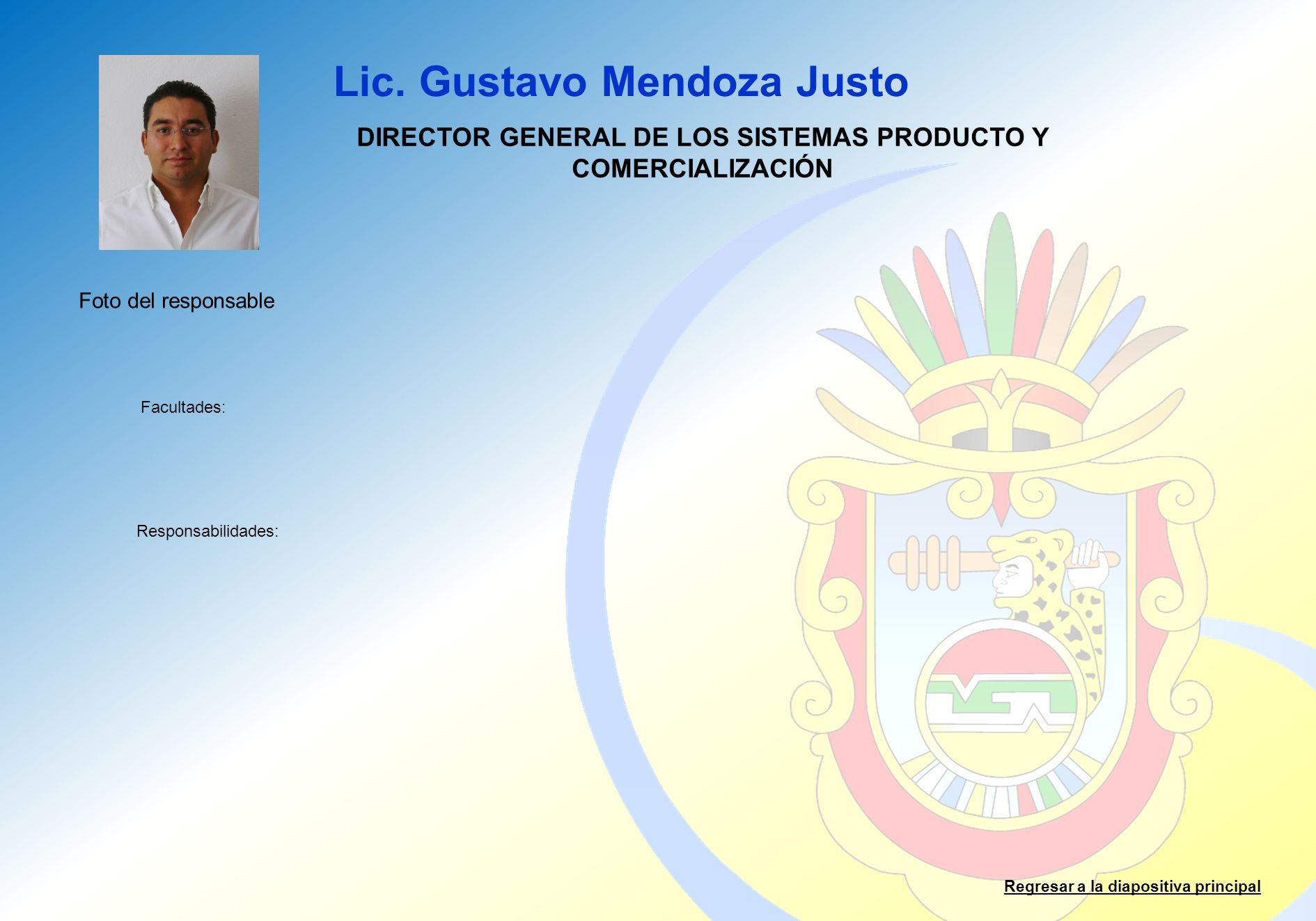 Lic. Gustavo Mendoza Justo Facultades: Responsabilidades: Regresar a la diapositiva principal DIRECTOR GENERAL DE LOS SISTEMAS PRODUCTO Y COMERCIALIZA