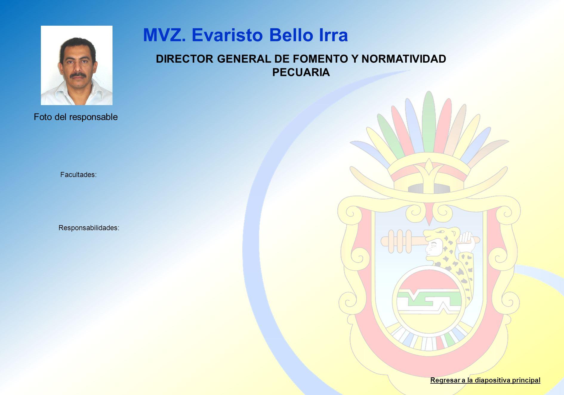 MVZ. Evaristo Bello Irra Facultades: Responsabilidades: Regresar a la diapositiva principal DIRECTOR GENERAL DE FOMENTO Y NORMATIVIDAD PECUARIA Foto d