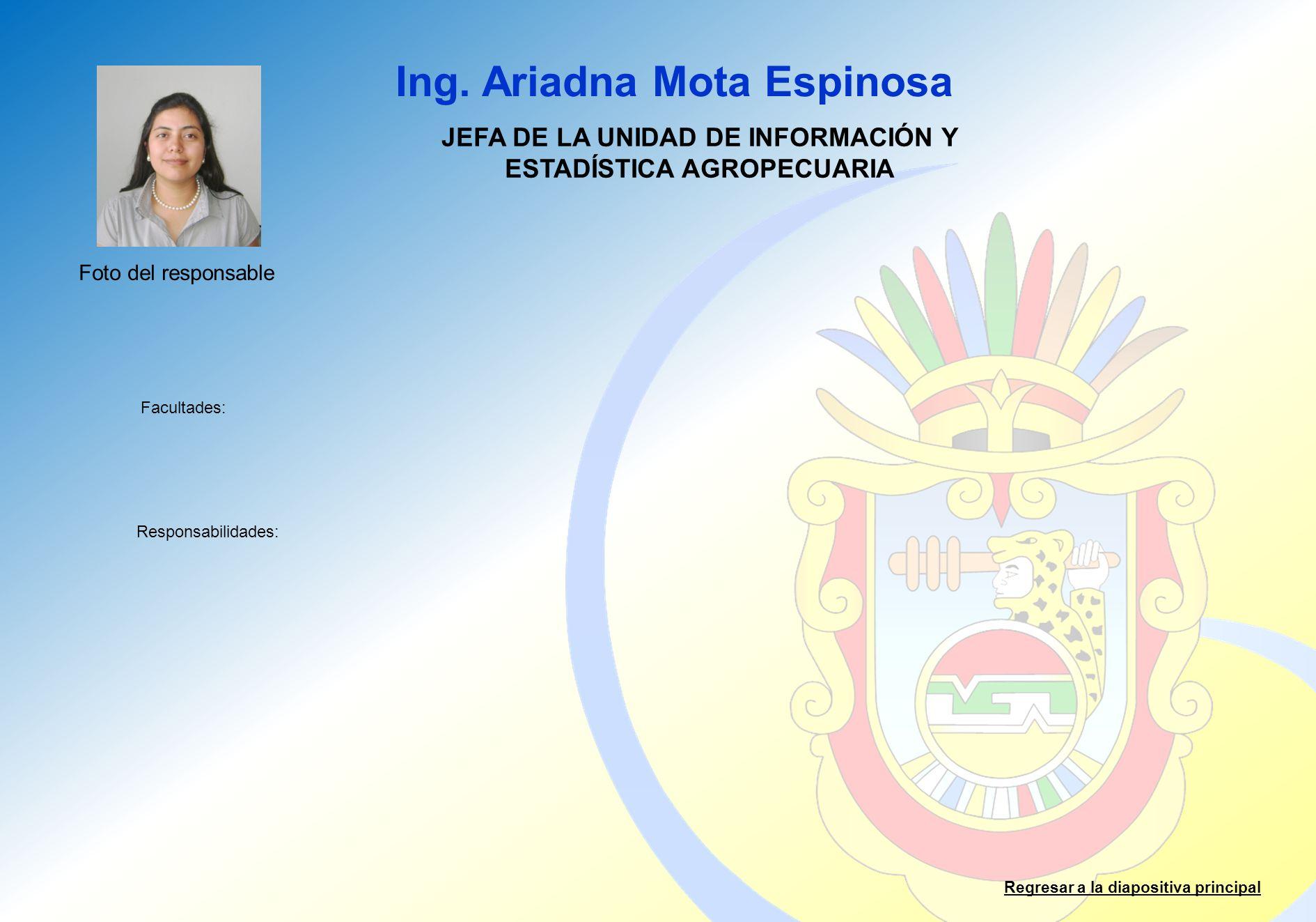 Ing. Ariadna Mota Espinosa Facultades: Responsabilidades: Regresar a la diapositiva principal JEFA DE LA UNIDAD DE INFORMACIÓN Y ESTADÍSTICA AGROPECUA