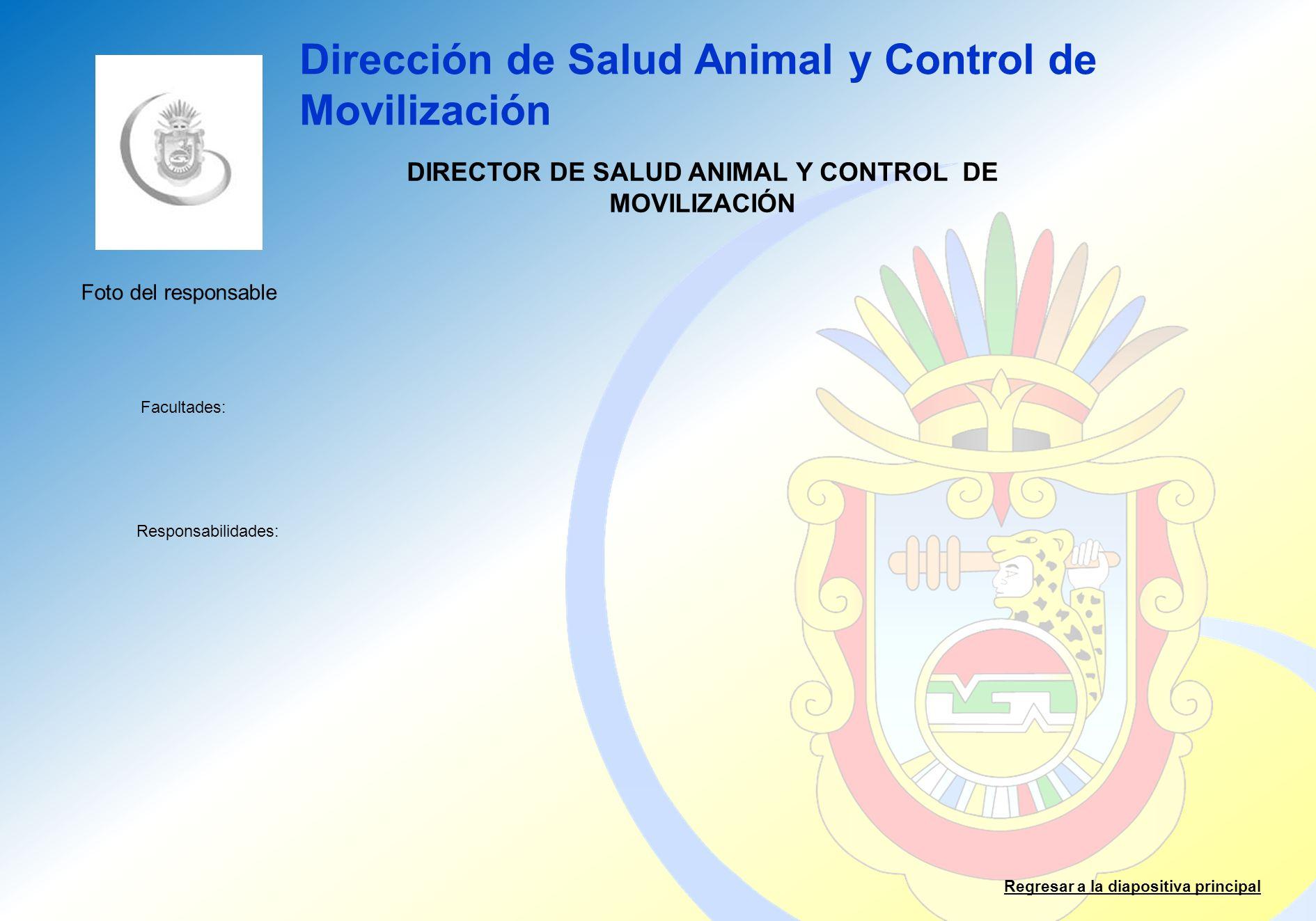 Dirección de Salud Animal y Control de Movilización Facultades: Responsabilidades: Regresar a la diapositiva principal DIRECTOR DE SALUD ANIMAL Y CONT