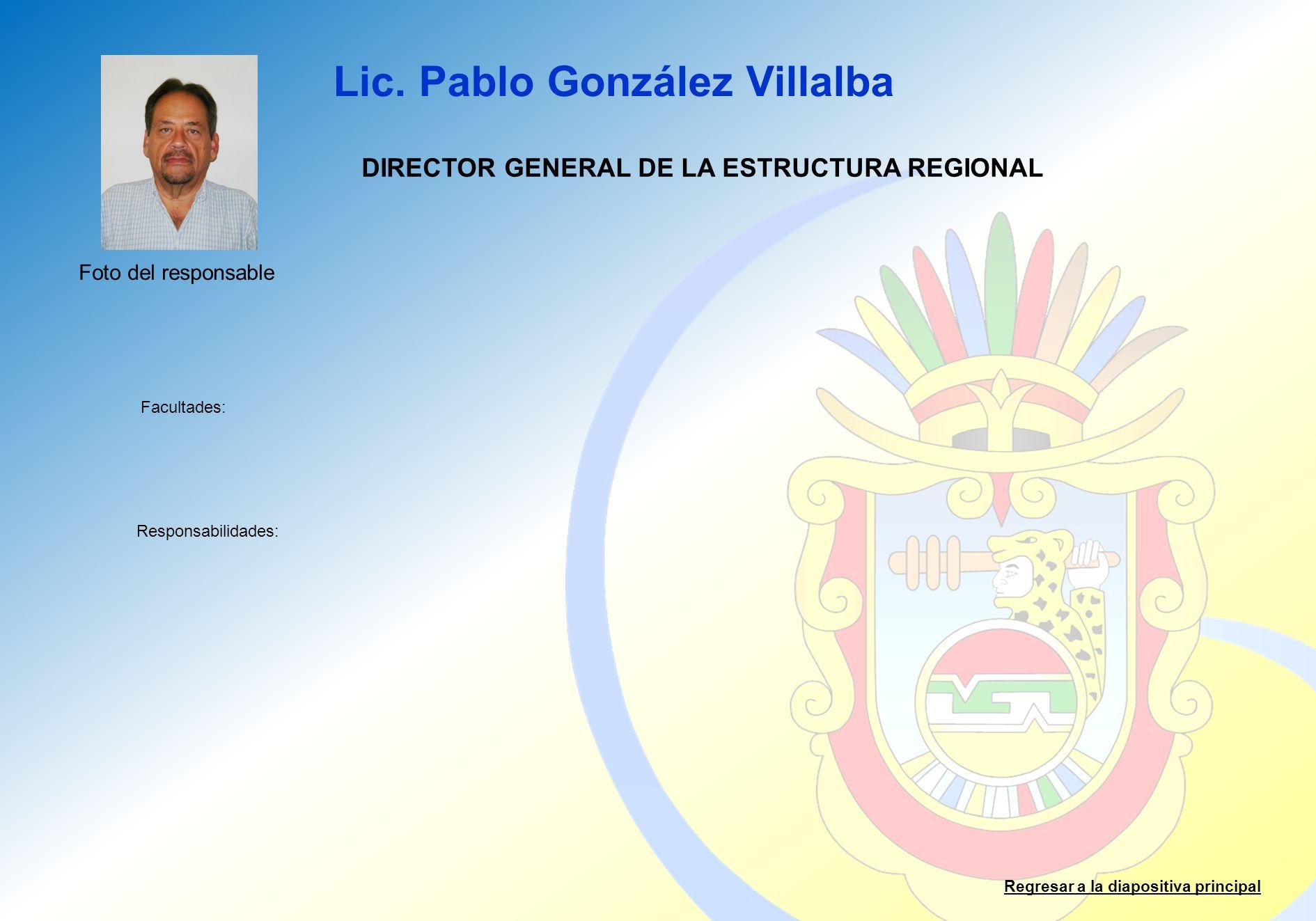 Lic. Pablo González Villalba Facultades: Responsabilidades: Regresar a la diapositiva principal DIRECTOR GENERAL DE LA ESTRUCTURA REGIONAL Foto del re