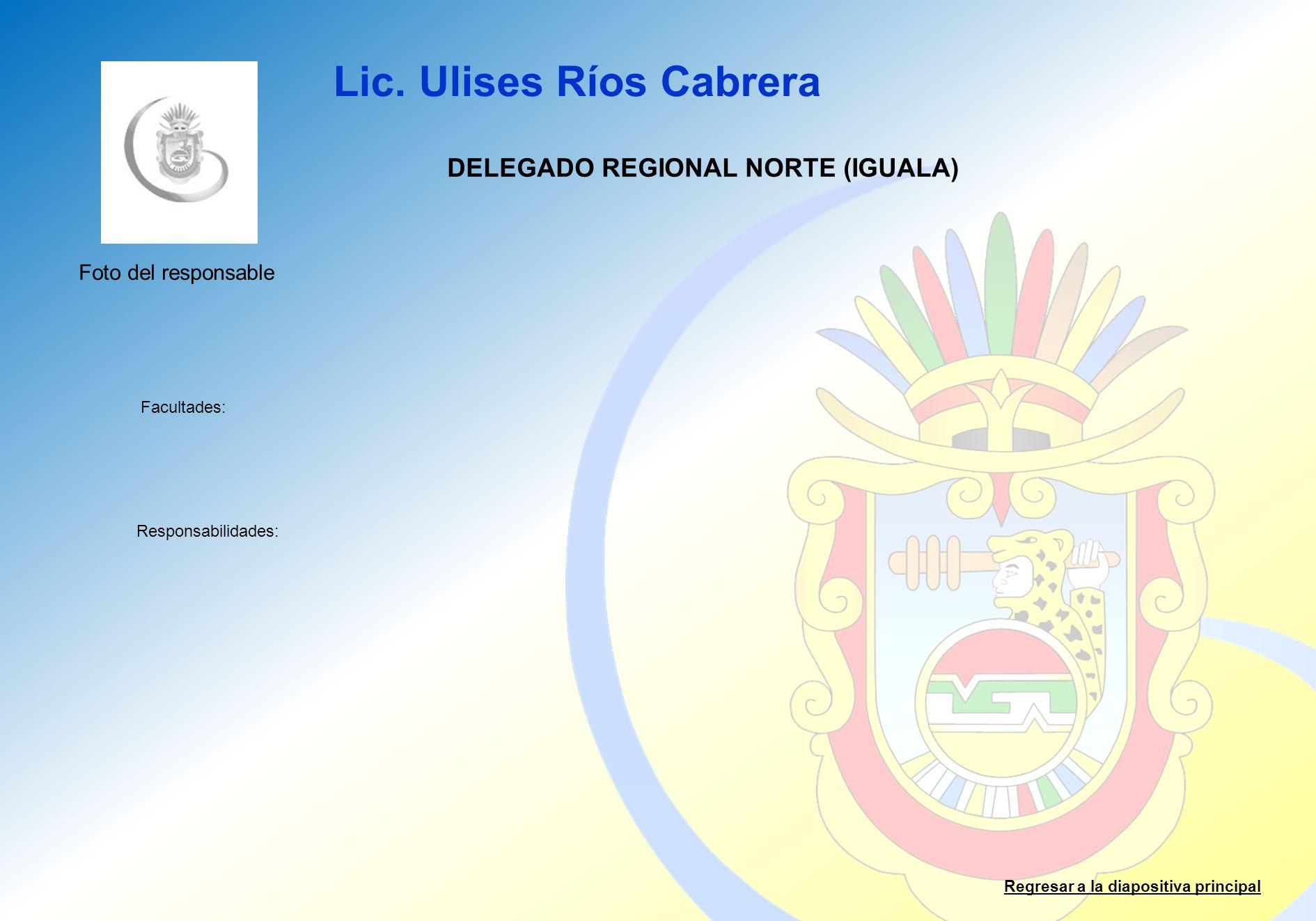 Lic. Ulises Ríos Cabrera Facultades: Responsabilidades: Regresar a la diapositiva principal DELEGADO REGIONAL NORTE (IGUALA) Foto del responsable