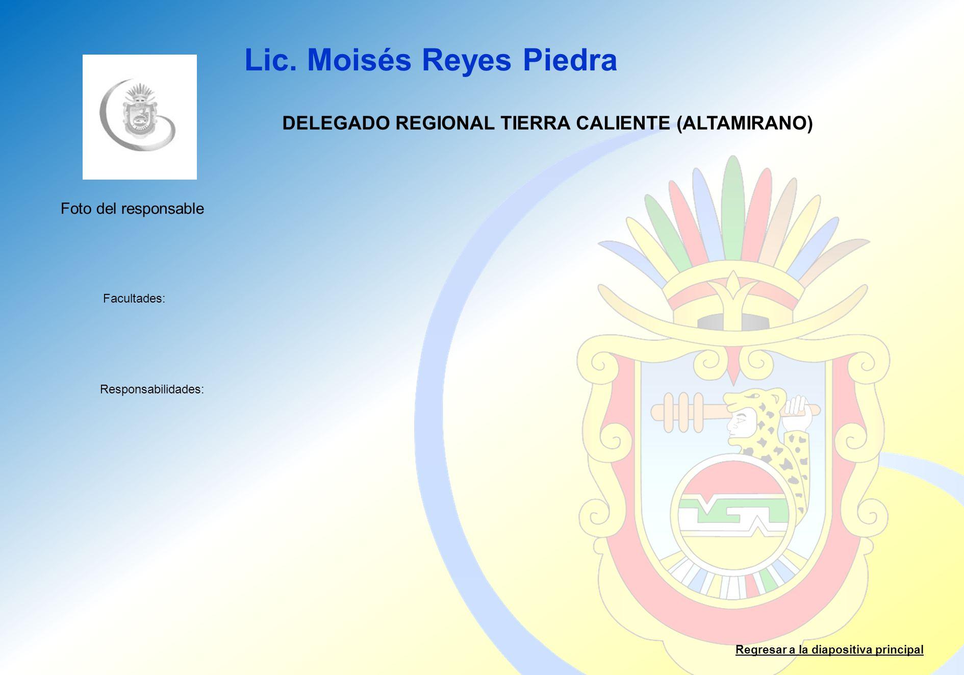 Lic. Moisés Reyes Piedra Facultades: Responsabilidades: Regresar a la diapositiva principal DELEGADO REGIONAL TIERRA CALIENTE (ALTAMIRANO) Foto del re