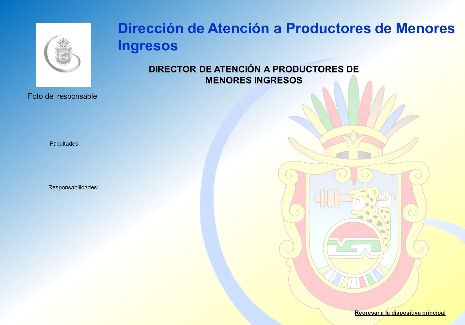 Dirección de Atención a Productores de Menores Ingresos Facultades: Responsabilidades: Regresar a la diapositiva principal DIRECTOR DE ATENCIÓN A PROD