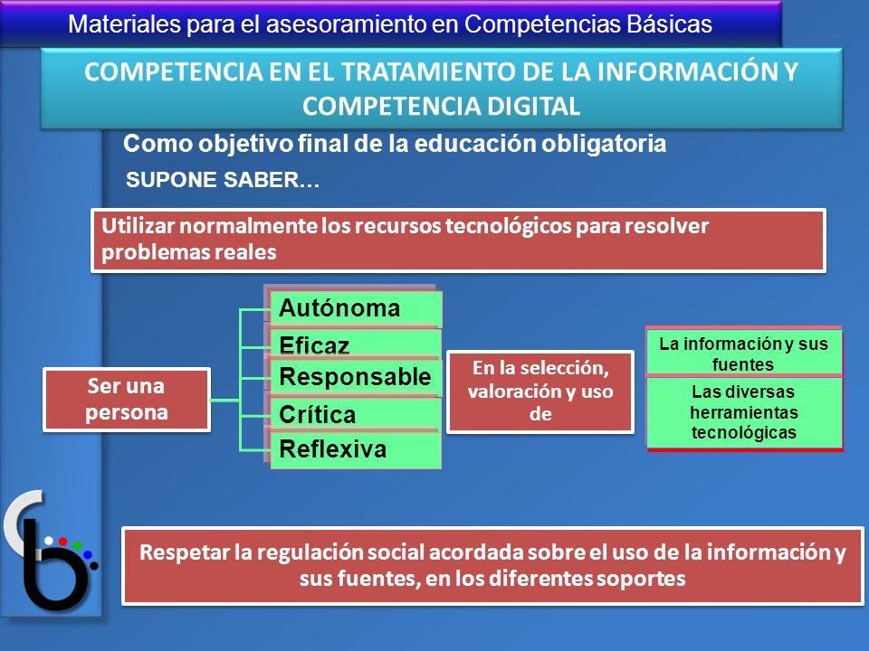 Materiales para el asesoramiento en Competencias Básicas Utilizar normalmente los recursos tecnológicos para resolver problemas reales Respetar la reg