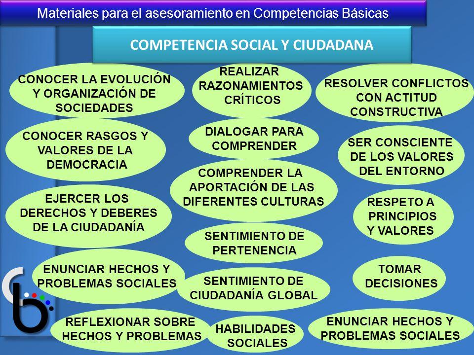 Materiales para el asesoramiento en Competencias Básicas CONOCER LA EVOLUCIÓN Y ORGANIZACIÓN DE SOCIEDADES CONOCER RASGOS Y VALORES DE LA DEMOCRACIA E