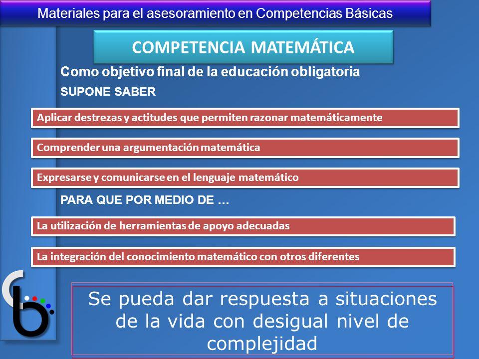 Materiales para el asesoramiento en Competencias Básicas Como objetivo final de la educación obligatoria SUPONE SABER Aplicar destrezas y actitudes qu