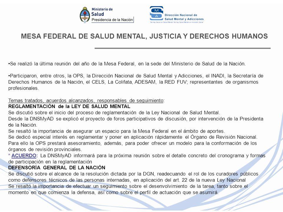 MESA FEDERAL DE SALUD MENTAL, JUSTICIA Y DERECHOS HUMANOS. Se realizó la última reunión del año de la Mesa Federal, en la sede del Ministerio de Salud