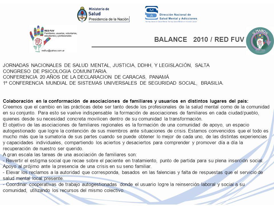 BALANCE 2010 / RED FUV JORNADAS NACIONALES DE SALUD MENTAL, JUSTICIA, DDHH, Y LEGISLACIÓN, SALTA CONGRESO DE PSICOLOGIA COMUNITARIA. CONFERENCIA 20 AÑ