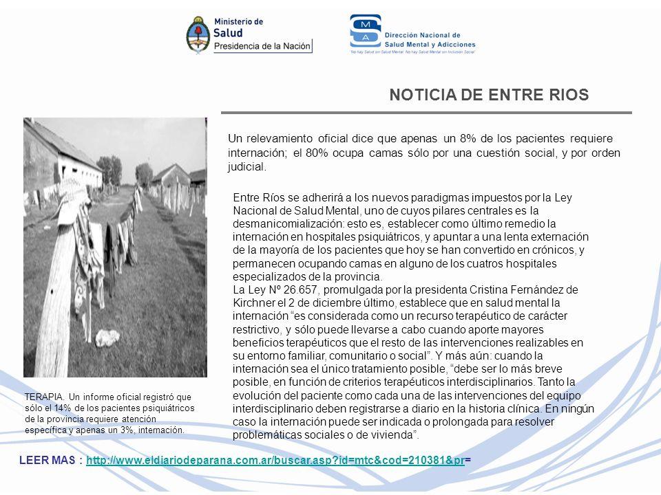 NOTICIA DE ENTRE RIOS Un relevamiento oficial dice que apenas un 8% de los pacientes requiere internación; el 80% ocupa camas sólo por una cuestión so