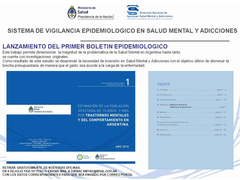 SISTEMA DE VIGILANCIA EPIDEMIOLOGICO EN SALUD MENTAL Y ADICCIONES LANZAMIENTO DEL PRIMER BOLETIN EPIDEMIOLOGICO Este trabajo permite dimensionar la ma