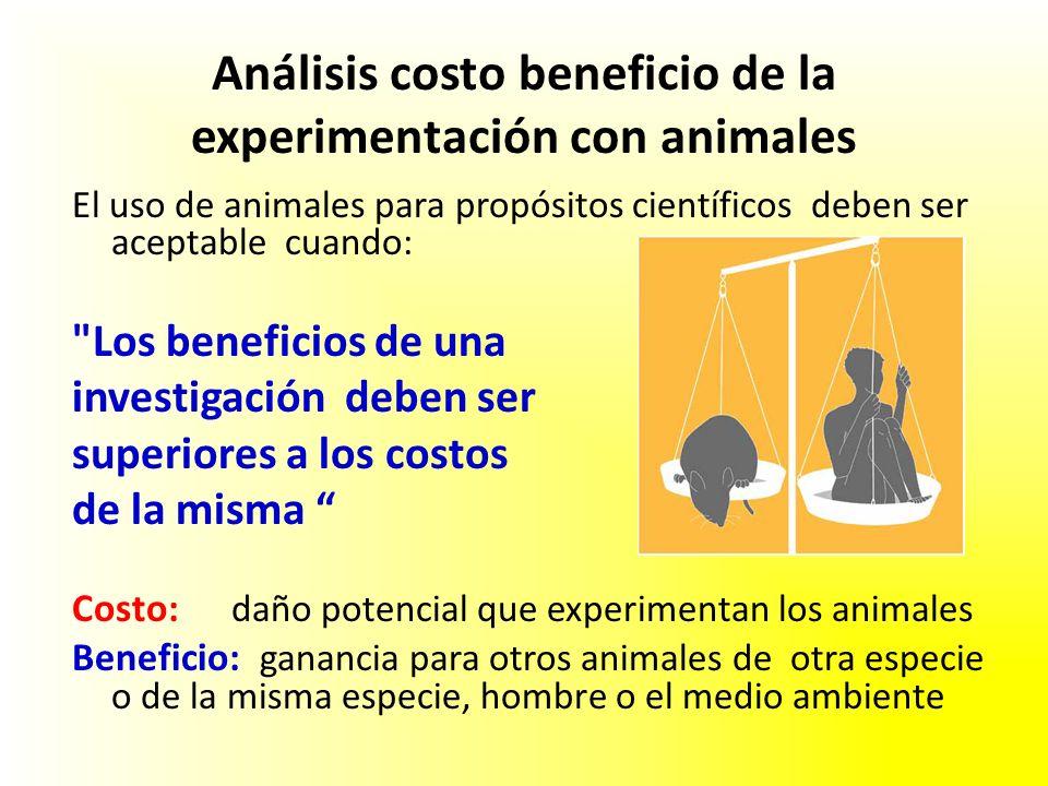 Análisis costo beneficio de la experimentación con animales El uso de animales para propósitos científicos deben ser aceptable cuando: Los beneficios de una investigación deben ser superiores a los costos de la misma Costo: daño potencial que experimentan los animales Beneficio: ganancia para otros animales de otra especie o de la misma especie, hombre o el medio ambiente
