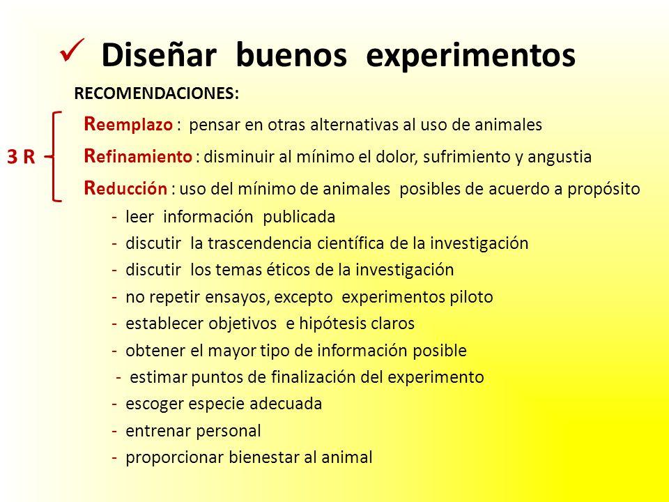 RECOMENDACIONES: R eemplazo : pensar en otras alternativas al uso de animales R efinamiento : disminuir al mínimo el dolor, sufrimiento y angustia R e