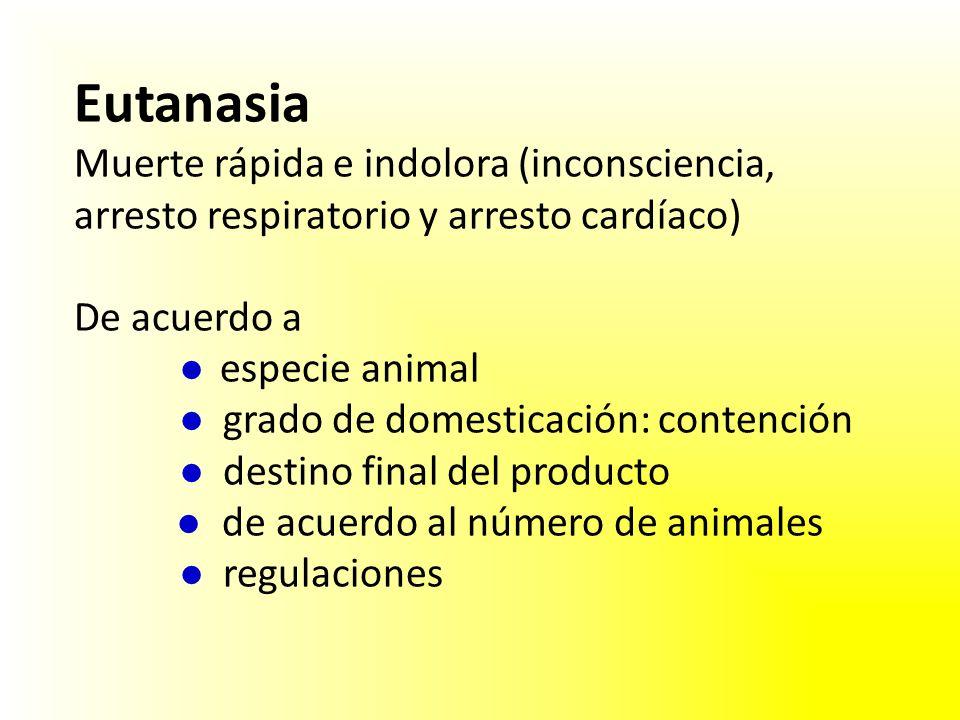 Eutanasia Muerte rápida e indolora (inconsciencia, arresto respiratorio y arresto cardíaco) De acuerdo a especie animal grado de domesticación: contención destino final del producto de acuerdo al número de animales regulaciones