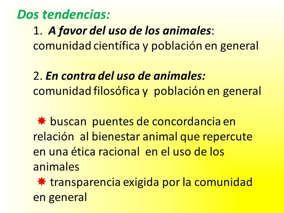 Dos tendencias: 1. A favor del uso de los animales: comunidad científica y población en general 2. En contra del uso de animales: comunidad filosófica