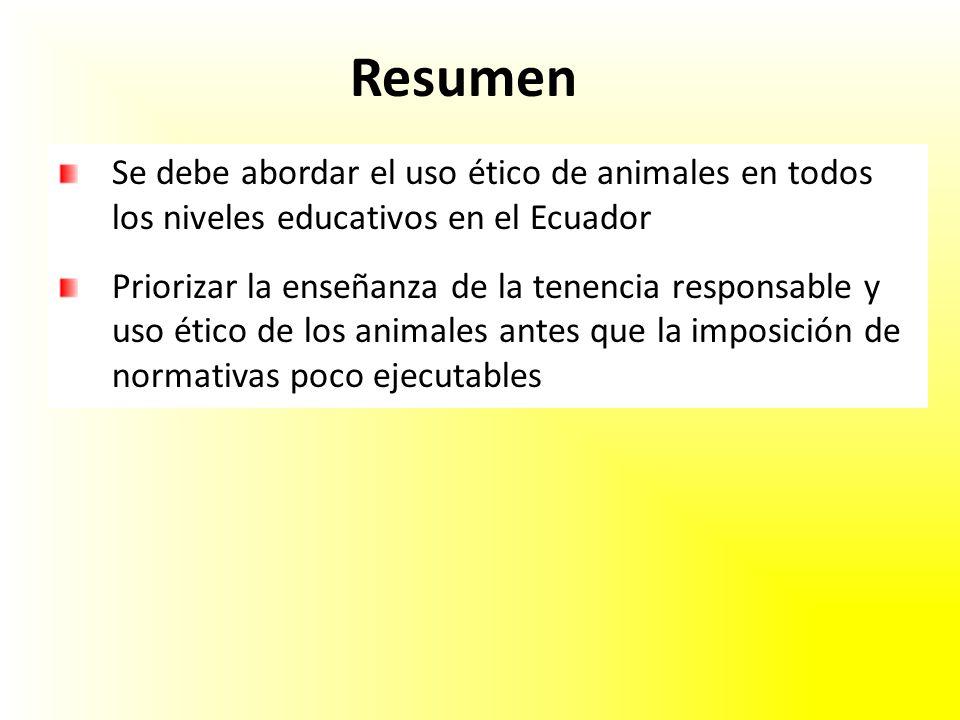 Resumen Se debe abordar el uso ético de animales en todos los niveles educativos en el Ecuador Priorizar la enseñanza de la tenencia responsable y uso ético de los animales antes que la imposición de normativas poco ejecutables