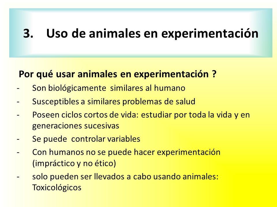Por qué usar animales en experimentación ? -Son biológicamente similares al humano -Susceptibles a similares problemas de salud -Poseen ciclos cortos