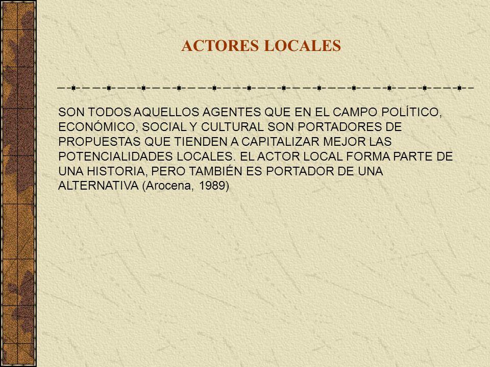 ACTORES LOCALES SON TODOS AQUELLOS AGENTES QUE EN EL CAMPO POLÍTICO, ECONÓMICO, SOCIAL Y CULTURAL SON PORTADORES DE PROPUESTAS QUE TIENDEN A CAPITALIZ