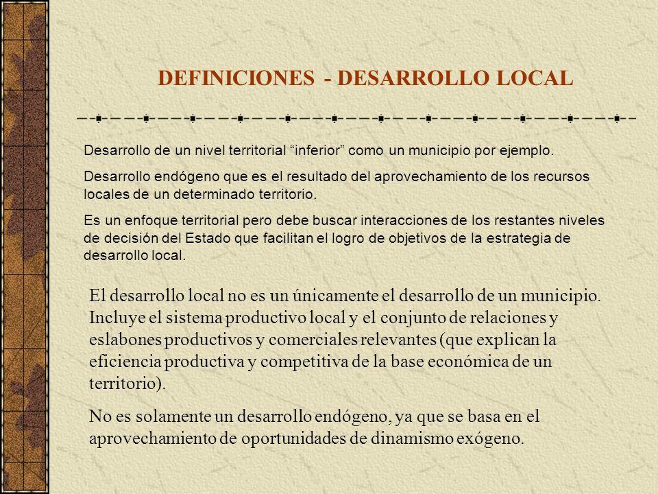 DEFINICIONES - DESARROLLO LOCAL Desarrollo de un nivel territorial inferior como un municipio por ejemplo. Desarrollo endógeno que es el resultado del