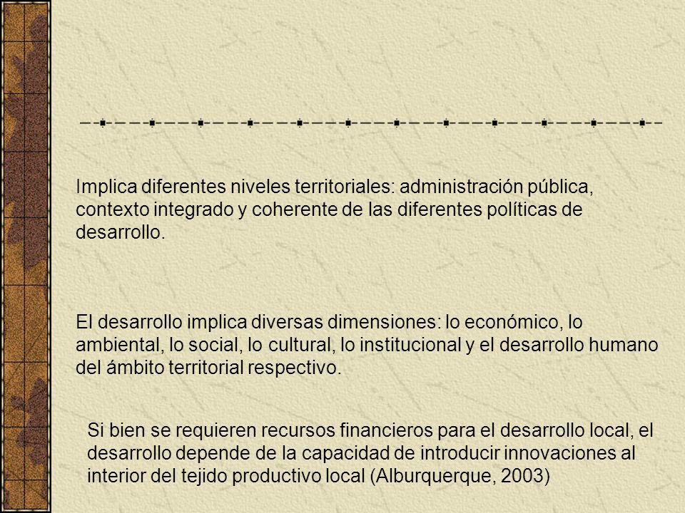 Implica diferentes niveles territoriales: administración pública, contexto integrado y coherente de las diferentes políticas de desarrollo. El desarro